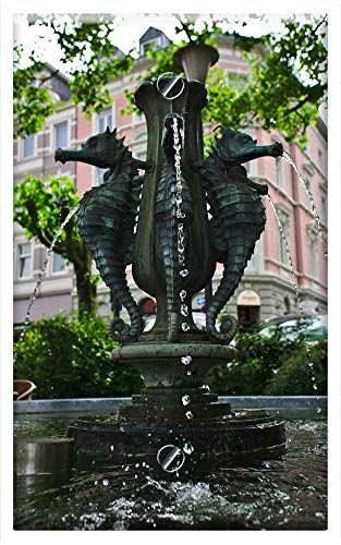 Single-Gang Blank Wall Plate Cover - Fountain Seahorse Architecture Decoration Water