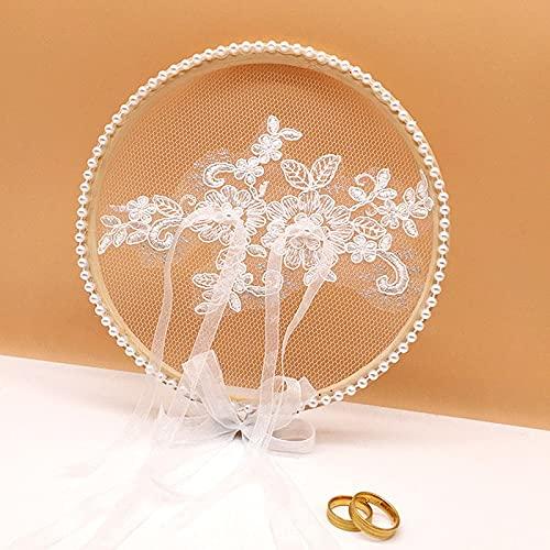 Almohada de anillo de boda, 1 pieza de cojín de madera blanca con encaje redondo para decoración de boda, propuesta de matrimonio (color: zafiro profundo)