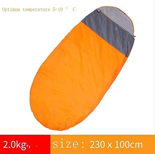 MOOMDDY Adulte intérieur élargi Sac de Couchage Hiver en Plein air Voyage de Camping séparés par Sale épais Sac de Couchage Chaud Simple Double Applique,Orange,L