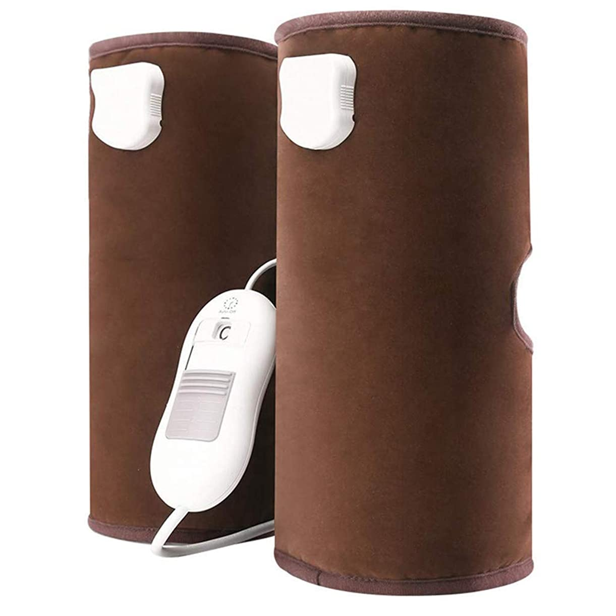 汚染されたが欲しい化粧循環と筋肉の痛みを軽減するための電熱膝パッド空気圧縮脚マッサージ、(青、赤、茶色)父の日ギフト,Brown