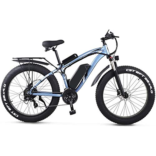 LIMQ Bici Elettrica per Adulti Bici Elettrica per Pneumatici Grassi da 26 Pollici 1000W 48V 17AH Beach Cruiser Pedal Assist Mountain E-Bike,Blue