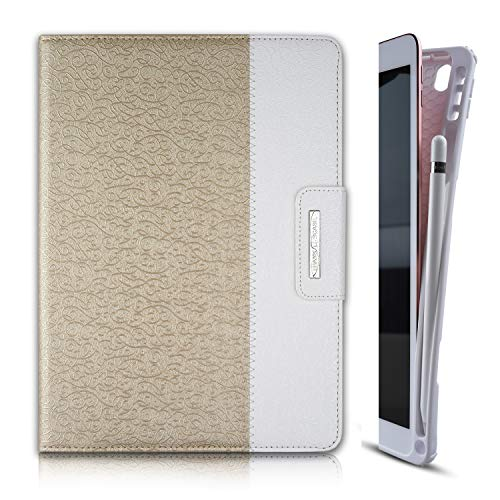 Thankscase Case for iPad 10.2 / iPad 8th Gen/iPad 7th Gen, Soft TPU Case with Pencil Holder [Compatible with Smart Keyboard], Stand Cover with Hand Strap, Wallet and Card Slots (Gold)