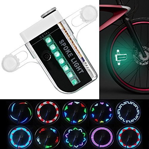 KEKU Luminoso Bike Wheel Lights - Impermeabile 14 LED ha parlato la Luce per la Guida Notturna con 30 Diversi Cambi di Pattern
