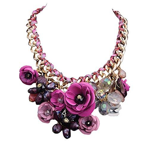 DELEY Damen Blumen Charme Kristall Chunky Kette Bib Statement Choker Kragen Halskette Hot Pink