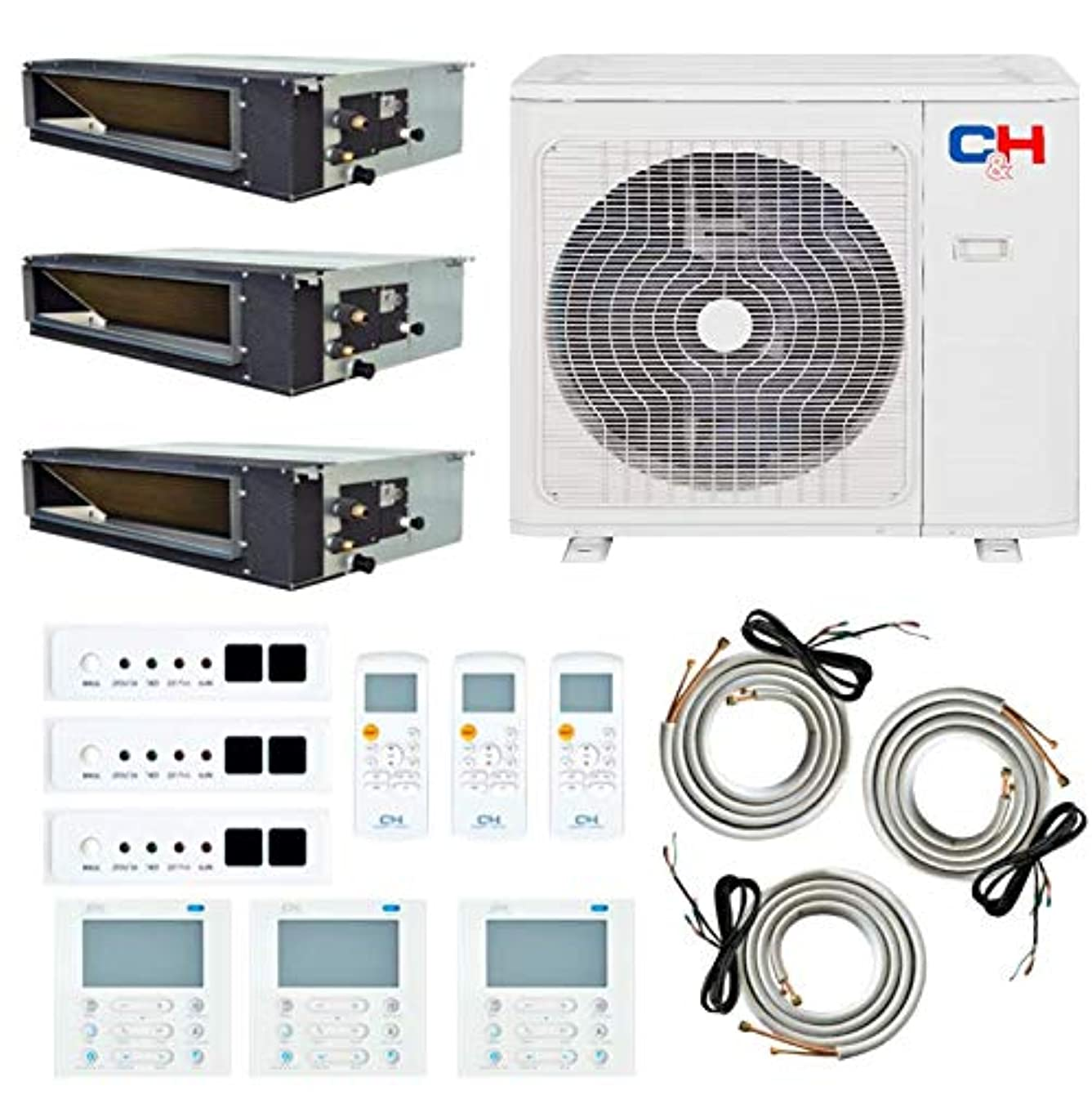 Multi Zone Dual 2 Zone 18000 18000 Concealed Duct Mini Split Air Conditioner and Heat Pump