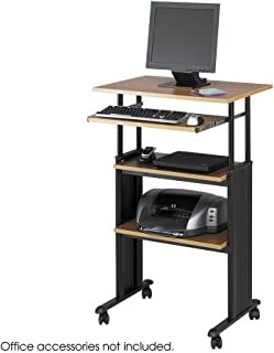 Safco 1929MO Adjustable Height Stand-Up Workstation 29w x 22d x 49h Oak/Black