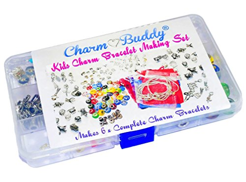 Girls 6 x Charm Bracelet Jewellery Making Kit Birthday Party Gift Set
