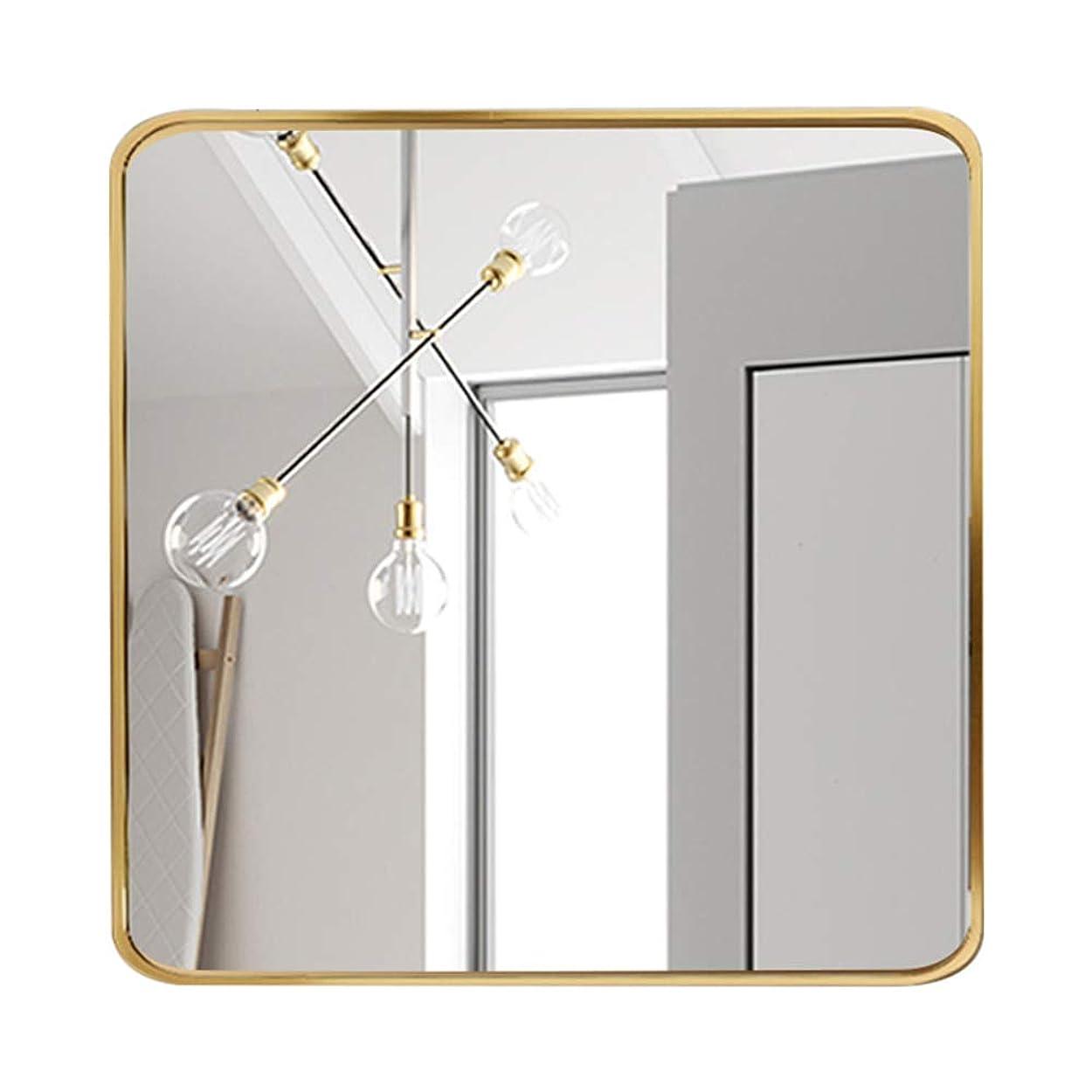 タバコ認可マート壁はバスルーム玄関リビングルームのためのミラーを吊るすミラー、北欧の単純化したラウンドコーナーゴールデン完成フレーム浴室の壁をマウント,50*50cm