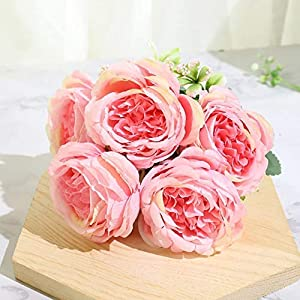 ZHXDXF Beautiful Rose Peony Artificial Silk Flowers Small White Bouquet Home Party Winter Wedding Decoration Fake Flowers Bonsai Decoration