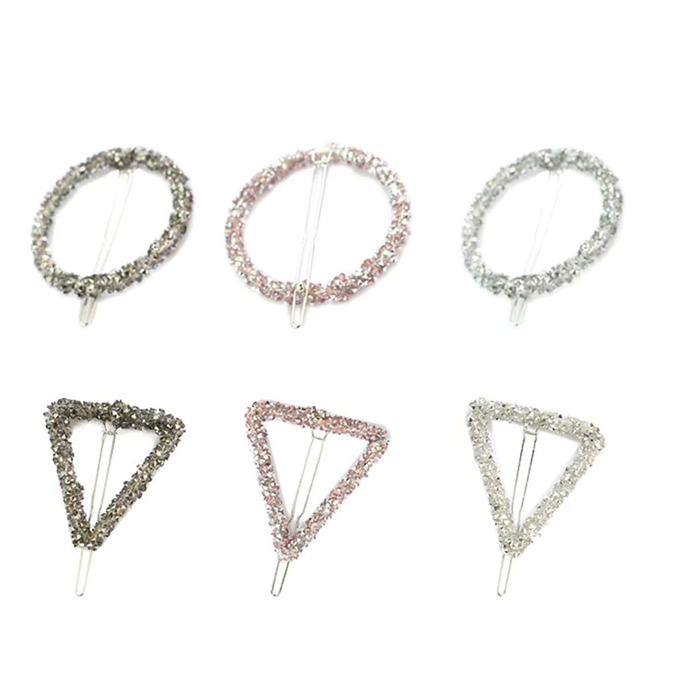 警告する拡張霜Lurrose 6ピーストライアングルヘアピン中空幾何学的合金ヘアピンヘアクランプサークルトライアングル用女性