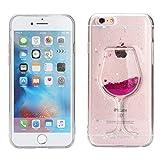 FroFine Coque iPhone 8 Plus Silicone, 3D Etui iPhone 7 Plus Housses Étuis Téléphones Portables Verre de Vin Motif Glitter Liquid Sable Souple Transparente Flottant Sables Anti Choc Case (Rose 1)