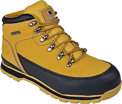 BARGAINS-GALORE Mens Safety Trainers Shoes Boots Work Steel Toe Cap Hiker Ankle Honey (11 UK)
