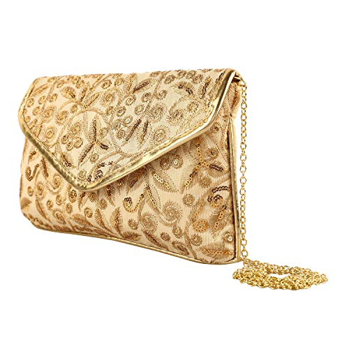 Kuber Industries Polyester Handcrafted Embroidered Women Clutch Women Handbag, Gold (CTKTC04331)
