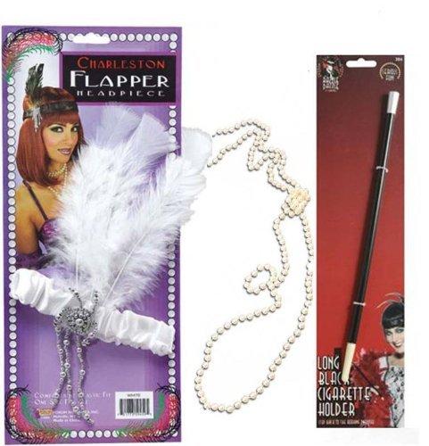 20s 30s Noir Rouge Panoplie Charleston Headband Porte Cigarette Perles Déguisement - Blanc
