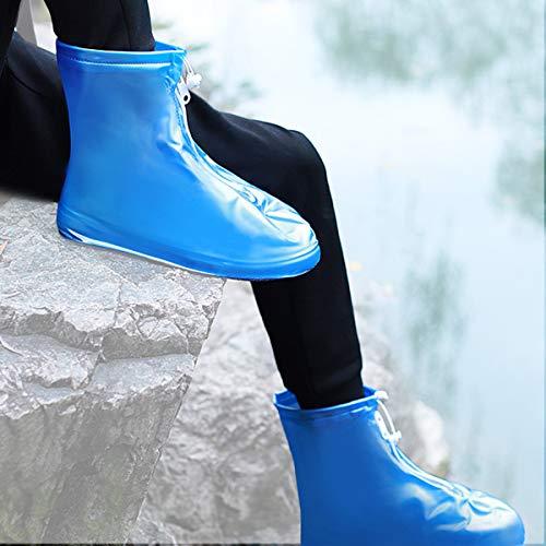 YHWD Zapatos Lluvia Plegables, Fundas Impermeables Reutilizables Botas Motocicleta con Cremallera Impermeable, Ajuste Estanqueidad, Fácil Transporte Almacenamiento, Antideslizante para Camping,Azul,L