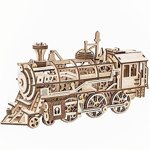 Robotime Lokomotive mechanischer Baukasten - 3D Holzpuzzle Modellbau Set Denkspiel - Rätsel Geschenke für Kinder, Jugendliche und Erwachsene