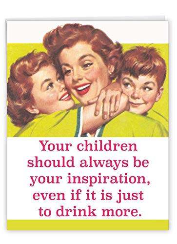 NobleWorks - Jumbo Happy Mother's Day Card (8.5 x 11 Inch) - Retro, Vintage Greeting Card for Mom - Drink More J0228
