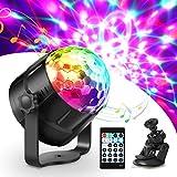 Haofy ステージライト ミラーボール 舞台照明 ディスコライト マジックボール パーティーライト RGB多色変化 水晶魔球 リモコン付き 声起動 自走機能 360°回 転 USB式 誕生日会/KTV/カラオケ/クラブ/ステージ/ディスコ/バー/結婚式/クリスマス/ハロウイン