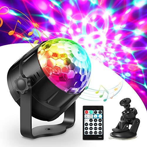 Luces Discoteca, Haofy Bola Discoteca con Cable USB, Control Remoto y 15 Colores RGB, Luce de Escenario LED Giratoria Luz de Fiesta con Sonido Activado para Fiesta, Cumpleaños, Bar y Boda