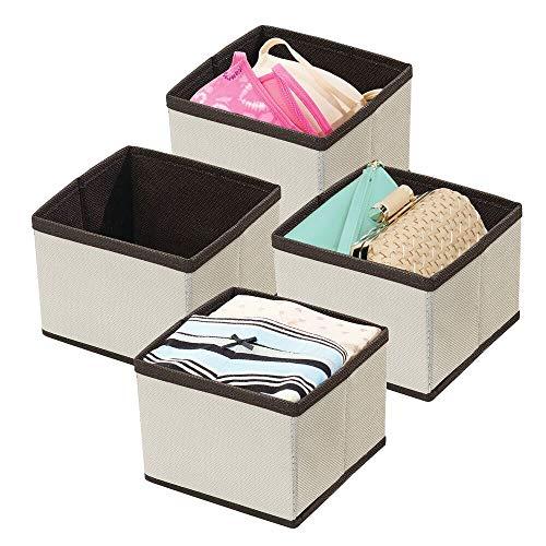 mDesign förvaringslådor – tyglådor för garderobsinredning – förvaringslådor i tyg för garderoben – 4-pack – gräddvit/brun