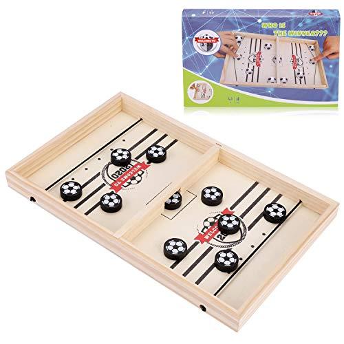JOYUE Brettspiel Hockey, Catapult Board Game, Fast Sling Puck Game, Tragbares Eisball-Kampfspiel, Tisch Slingshot Brettspiel, Bumper Chess, Bouncing Chess for Kinder & Eltern-Kind (Fußballschach)