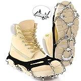 Hurdilen Crampones Tacos de tracción Hielo Grips de Nieve para Botas Zapatos 24 Espigas Cadena de Nieve de Acero Inoxidable para Mujeres Hombres Senderismo Escalada Trotar Pesca Montañismo (L)