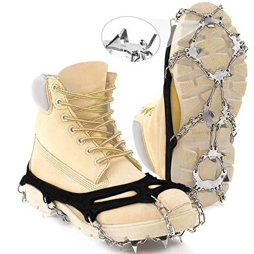 Hurdilen Steigeisen Traction Cleats Ice Snow Grips für Stiefel Schuhe 24 Zähne Silikon Edelstahl Schneekette Spikes für Damen Herren Kinder Wandern Klettern Joggen Angeln Bergsteigen (L)