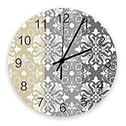 Futuregrace Colorful Classic Chateau Floral Pattern Grey and Yellow Wooden Board Wall Clock 11.8 Non Ticking,Clock Silent Desk Wall Clocks for Home Kitchen Bedroom Bathroom Vintage Decor