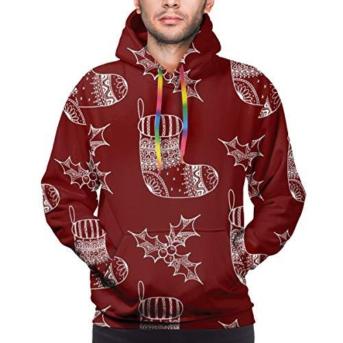 Moshow Sudadera con Capucha para Hombre de Patrones sin Fisuras del símbolo Decorativo navideño - Sudadera de calcetín y Acebo S