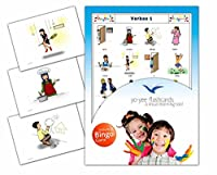 Verbs Flashcards in Spanish Language - Flash Cards with Matching Bingo Game for Toddlers, Kids, Children and Adults - Size 4.13 × 5.83 in - DIN A6