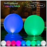 HAPIKAY 2019 Solar Floating Pool Lights - 7 Fun Vibrant Changing Colors - 14 inch Inflatable Floatable Hangable Wateproof - Christmas Decorations for Pool Garden Backyard - 1 Pack