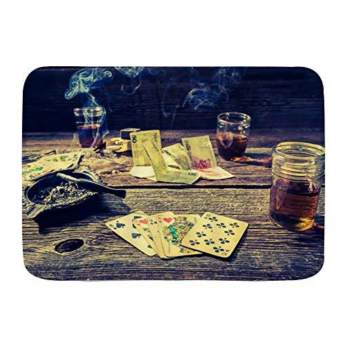 CVSANALA Dekorativer Badezimmer Boden Teppich,Cigar Casino Pokertisch,Badematte rutschfest,75 x 45 cm