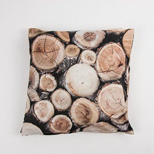 SCHÖNER LEBEN. Kissenhülle Holz Holzstämme braun 40x40cm