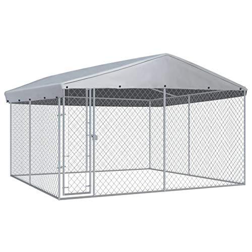 vidaXL Outdoor Hundezwinger mit Überdachung 3,8×3,8x2,4m Hundehütte Hundekäfig