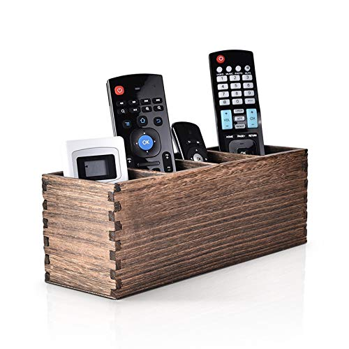 Remote Control Holder, 4 Slot Wooden Remote Control Caddy Organizer, Multi-Functional Remote Caddy for Storage TV Remotes, Game Console, Phones, Pens, Office Supplies