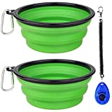WOHENI Extra Large Collapsible Dog Bowls for Travel, 2 Pack Collapsible Dog Water Bowls for Cats Dogs, 34oz Portable Pet Feeding Watering Dish for Walking Parking Traveling and a Dog Training Clicker