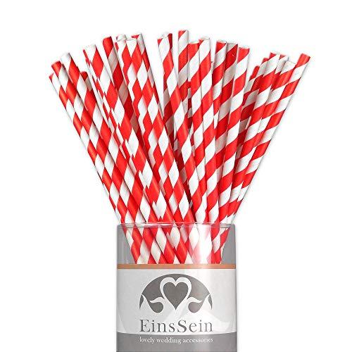 EinsSein 25x Papierstrohhalme Stripes Weiss-rot Hochzeit Party Geburtstag Strohhalme Trinkhalme Cake Pops Sticks und Candy Bar-Zubehör Stiele Papier Pappgeschirr Straws