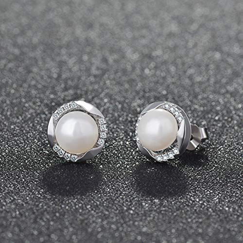 TYTLYA Frauen 925 Sterling Silber Ohrringe Damen Mädchen Schmuck Antiallergie Perl -Zirkon Rundohr Nagelschmuck Mode Dekorative Schmuck