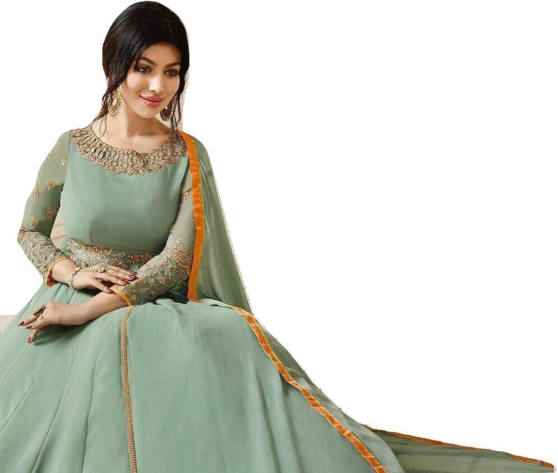 Anarkali Salwar Kameez Party Wear for Women Bollywood (Light Green, Unstitched)