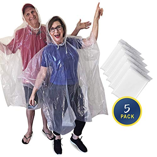 Rain Ponchos for Adults Disposable or Reusable - 5 Pack - Clear Waterproof Emergency Poncho with Drawstring Hood - Extra Thick & Strong - Perfect for Theme Parks, Concerts, Sporting Events, Camping
