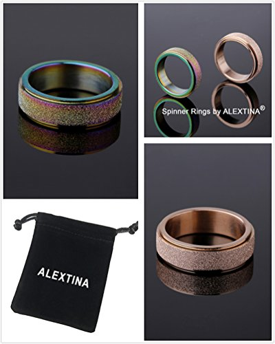 ALEXTINA Women's 6MM Stainless Steel Ring Spinner Band Sand Blast Finish Rose Gold Size 5