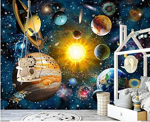 3D Hand Painting Space Universe Wallpaper Wall Decals para niños Niños Dormitorio Decoración de la pared del hogar Papeles de pared de cartón personalizados-About_250 * 175cm_2_stripes