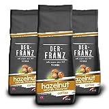 Der-Franz - Café mezcla de Arábica y Robusta, Tostado, Granos Enteros Aromatizados con Avellana Natural, Certificación UTZ, en Grano, 3 x 500 g