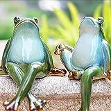Lazy Puppy Sculptures et statues de jardin en céramique Couple de grenouille Décoration de jardin