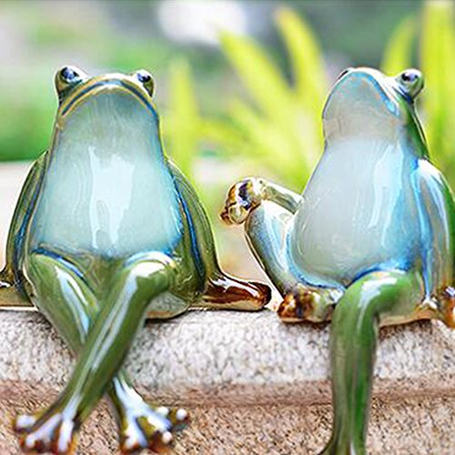 Lazy Puppy Garden Sculptures & Statues Ceramic Couple Frog Garden Decoration
