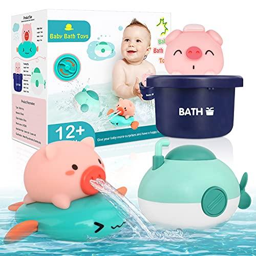 AUYYOSK Baby Badespielzeug 3 Stück, Badespielzeug Schwimmendes Uhrwerk für Kleinkinder Schweinchen Badespielzeug Badewannenspielzeug Schwimmbadspielzeug für 1 2 3 Jahre Jungen und Mädchen