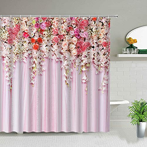 XCBN Vitt tyg blomma duschdraperi grön tropisk blad fågel ros blomma växt landskap badrum gardin K 180 x 200 cm