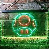 Mario Mushroom LED看板 ネオンサイン バーライト 電飾 ビールバー 広告用標識 グリーン+レッド W60cm x H40cm