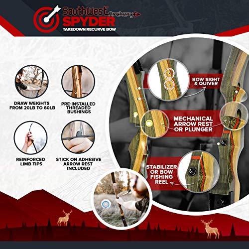 Product Image 1: Southwest Archery Spyder XL 64 Takedown Recurve Bow -25R-with Stringertool