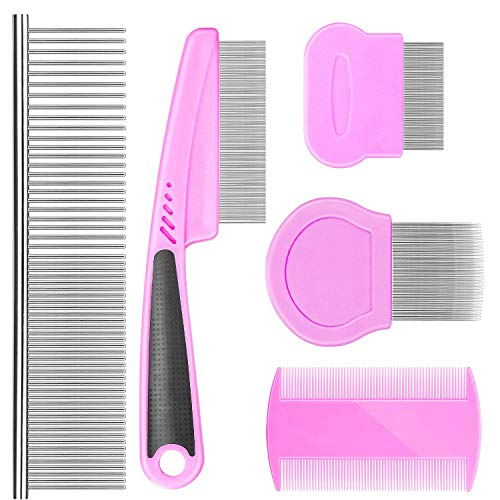 Flea Comb For Dogs Cat Comb Lice Comb Metal Tear Stain Dog Combs Pet Comb Grooming Set 5 Pieces By BENSEAO Teeth Durable Remove Float Hair Combing tangled hair Dandruff Add Storage Pouch (pink)